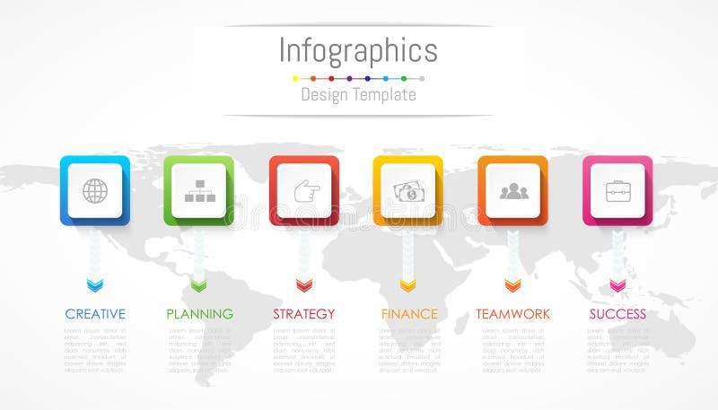 Elementos del diseño de Infographic para sus datos de negocio con 6 opciones, porciones, pasos, cronologías o procesos Ilustració libre illustration