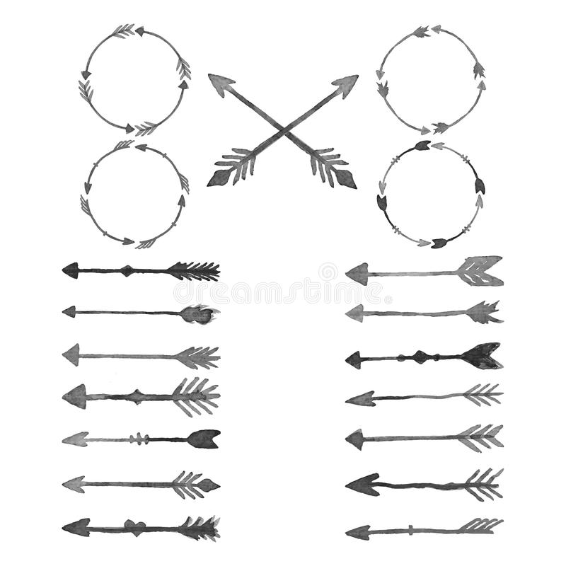 Elementos del diseño de la acuarela de la flecha fotos de archivo libres de regalías