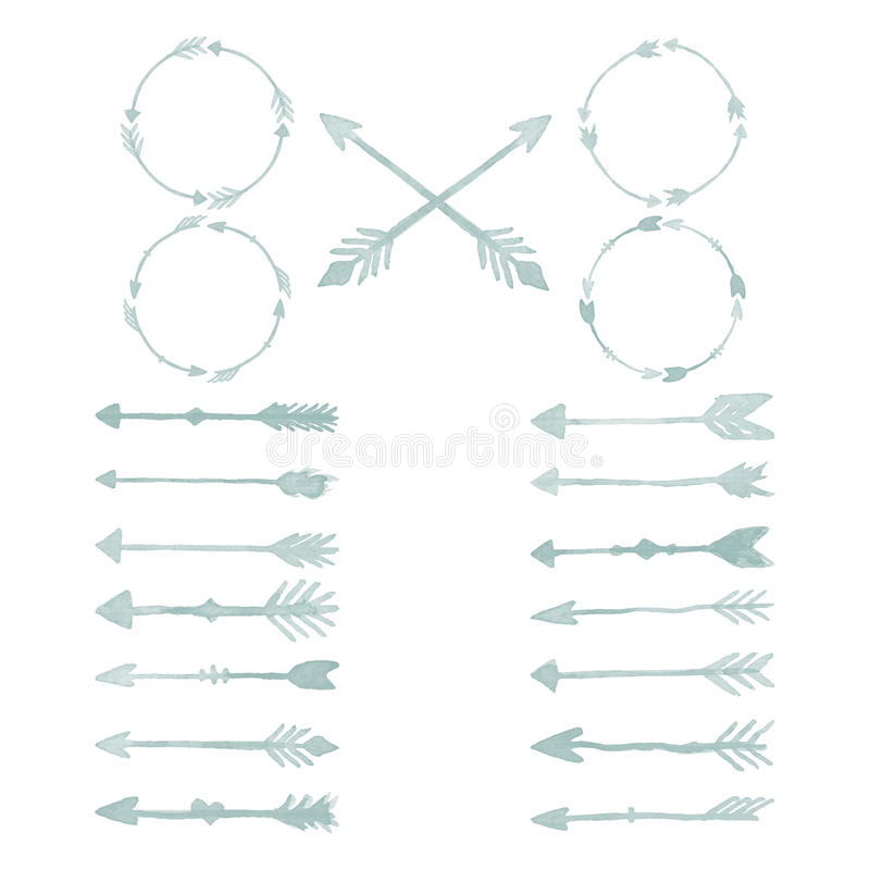 Elementos del diseño de la acuarela de la flecha imagenes de archivo