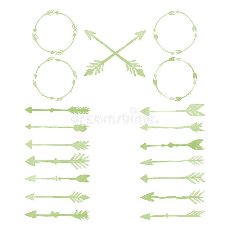 Elementos del diseño de la acuarela de la flecha imagen de archivo