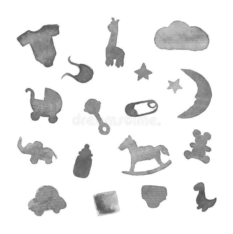 Elementos del diseño de la acuarela de la materia del bebé imagenes de archivo