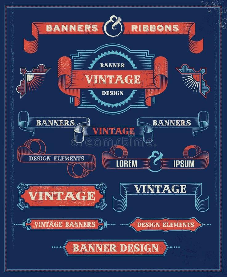 Elementos del diseño de la bandera y de la cinta del vintage ilustración del vector