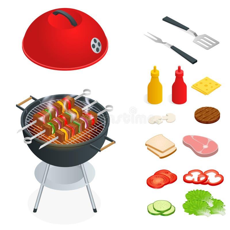Elementos del diseño de la barbacoa Comida del verano de la parrilla Comida campestre que cocina el dispositivo Ejemplo isométric ilustración del vector