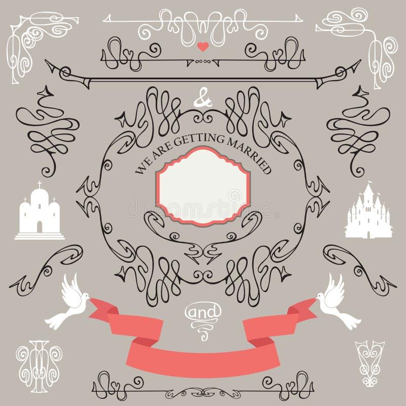 Elementos del diseño de la boda del vintage Sistema romántico stock de ilustración