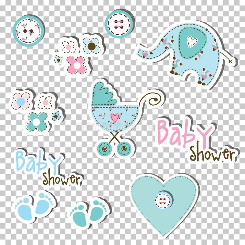 Elementos del diseño de la ducha de bebé ilustración del vector