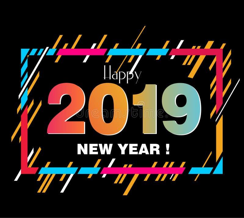 Elementos del diseño de la Feliz Año Nuevo 2019 para el diseño de tarjetas de regalo stock de ilustración