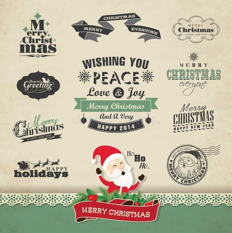 Elementos del diseño de la Navidad ilustración del vector