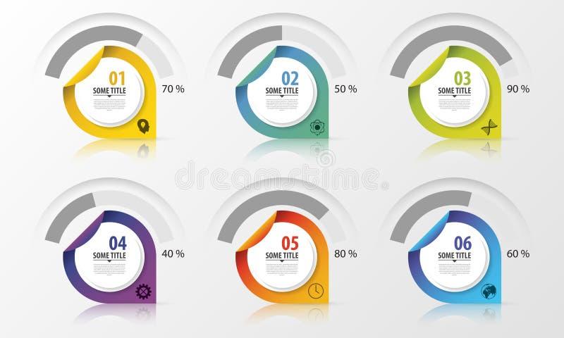 Elementos del diseño de la presentación del diagrama del porcentaje Infografía Vector ilustración del vector