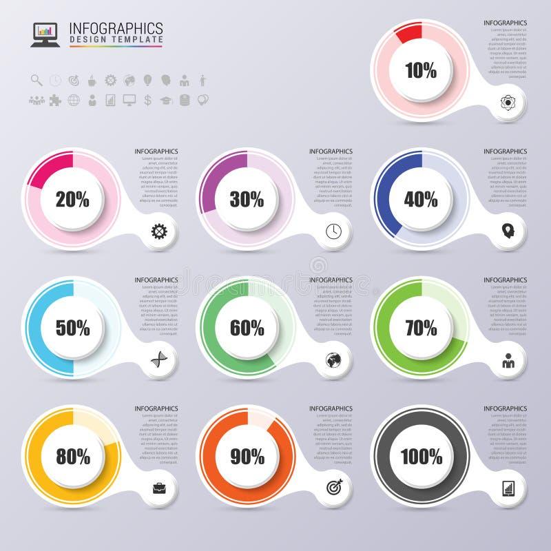 Elementos del diseño de la presentación del diagrama del porcentaje Infografía Vector stock de ilustración