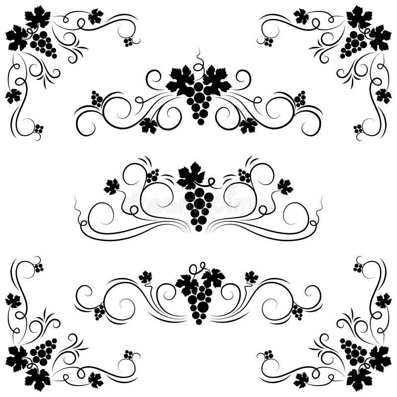 Elementos del diseño de la uva. stock de ilustración