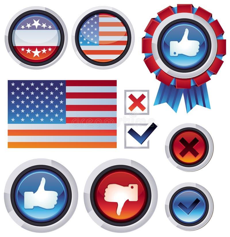 Elementos del diseño de la votación y de la elección ilustración del vector
