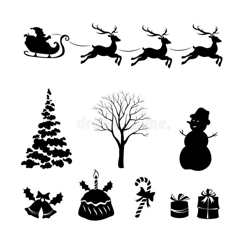 Elementos del diseño de las siluetas de la Navidad ilustración del vector
