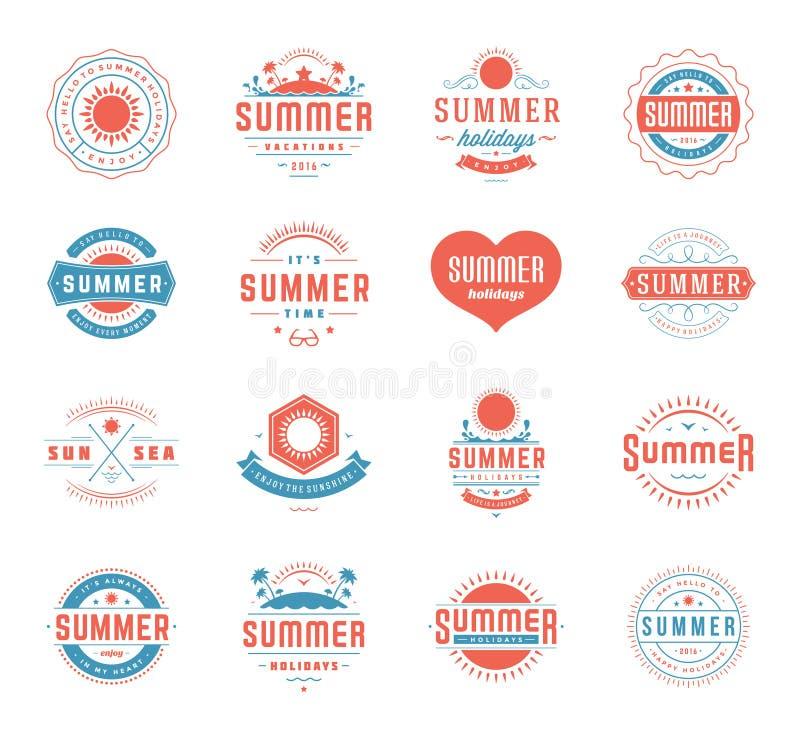 Elementos del diseño de las vacaciones de verano y plantillas retras determinadas del vintage de la tipografía libre illustration