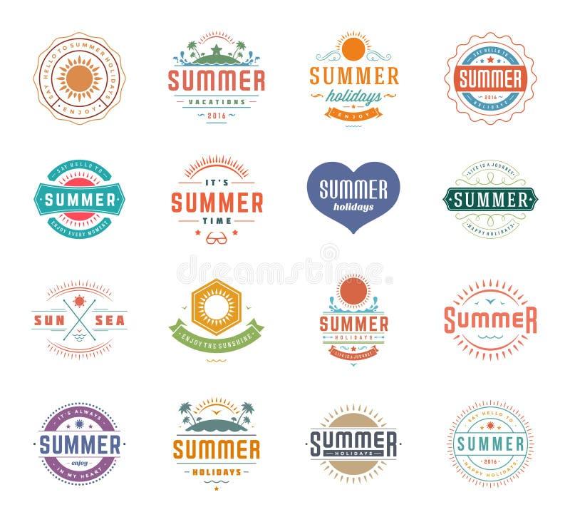 Elementos del diseño de las vacaciones de verano y plantillas retras determinadas del vintage de la tipografía ilustración del vector