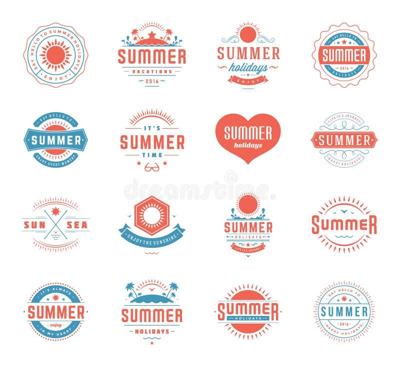 Elementos del diseño de las vacaciones de verano y sistema de la tipografía Etiquetas o insignias retras de las plantillas del vi libre illustration