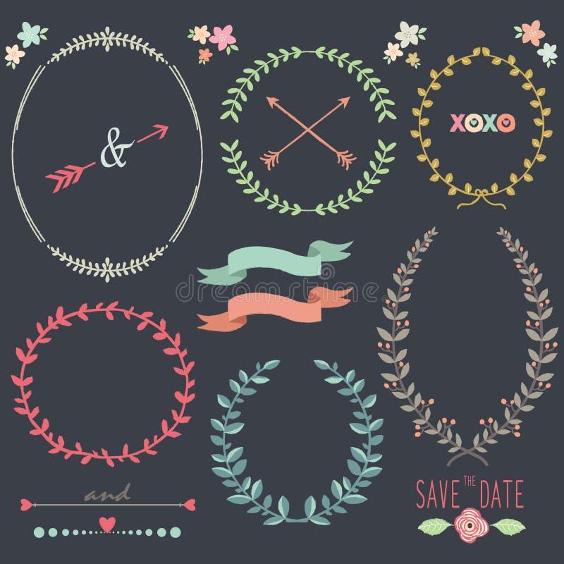 Elementos del diseño de Laurel Wreath Wedding de la pizarra libre illustration