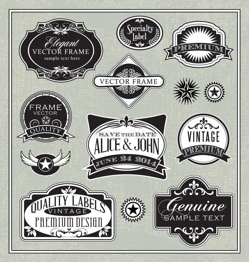 Elementos del diseño de los marcos de etiquetas del vintage stock de ilustración