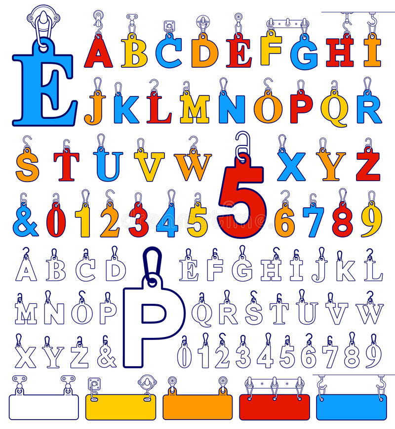 Elementos del diseño del alfabeto y etiquetas del número en los ganchos ilustración del vector