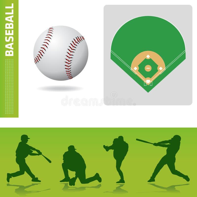 Elementos del diseño del béisbol ilustración del vector