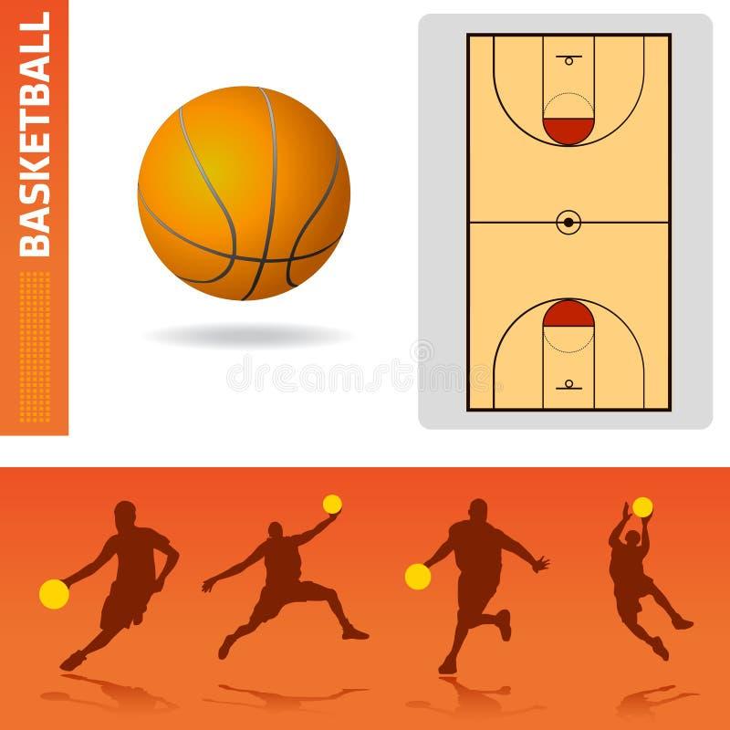 Elementos del diseño del baloncesto ilustración del vector