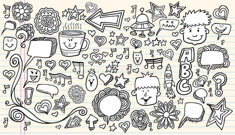 Elementos del diseño del bosquejo del Doodle del cuaderno stock de ilustración