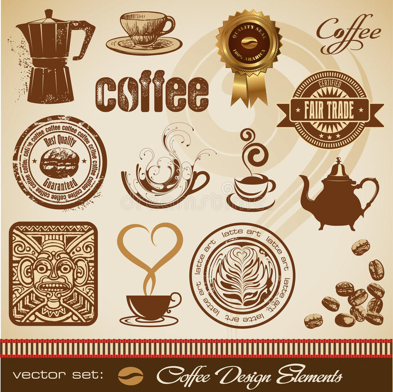 Elementos del diseño del café stock de ilustración