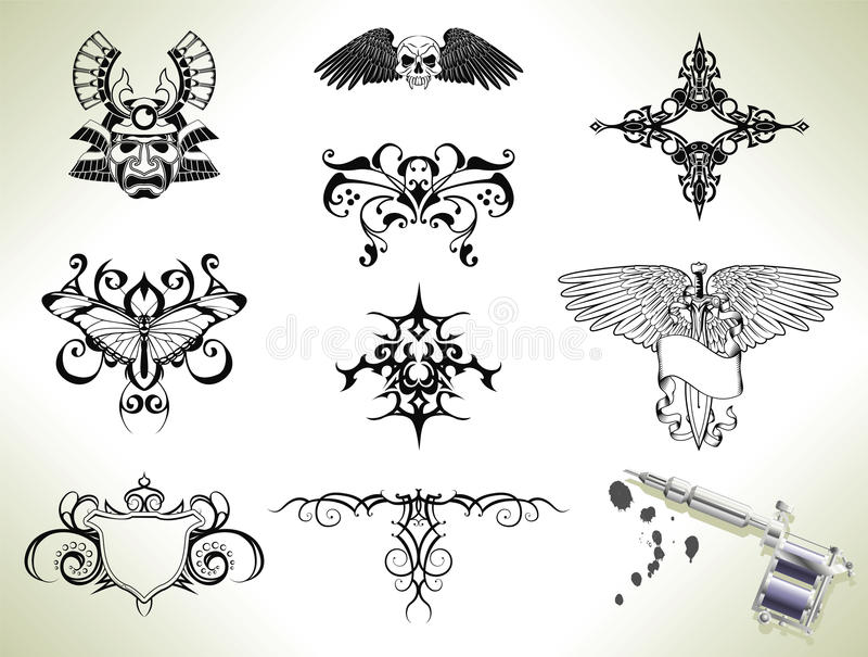 Elementos del diseño del flash del tatuaje ilustración del vector