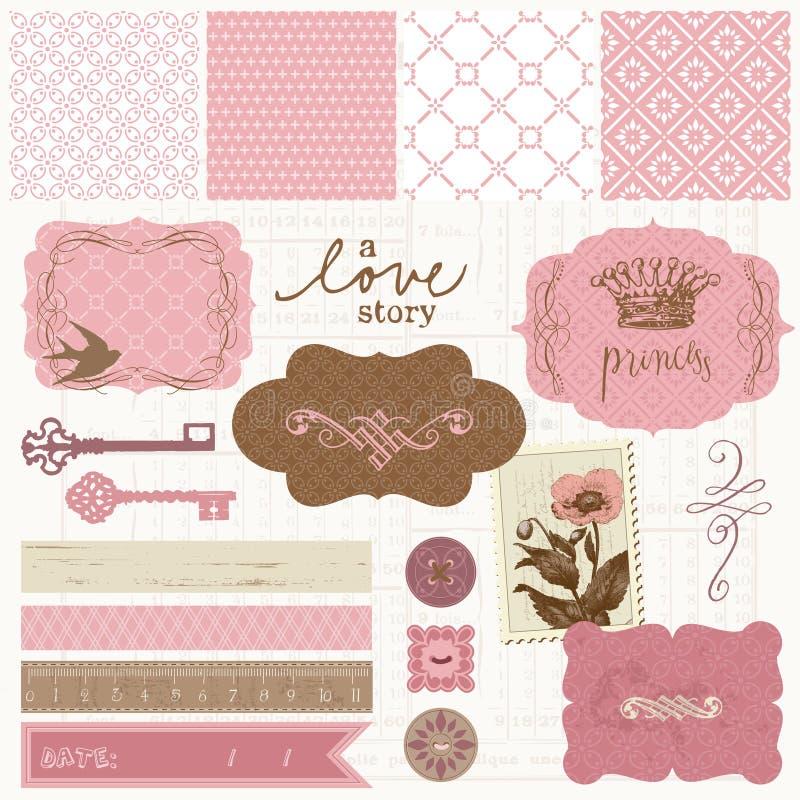 Elementos del diseño del libro de recuerdos - conjunto del amor de la vendimia ilustración del vector