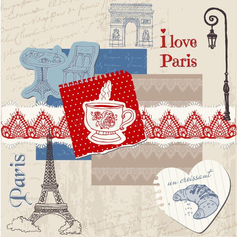 Elementos del diseño del libro de recuerdos - conjunto del vintage de París