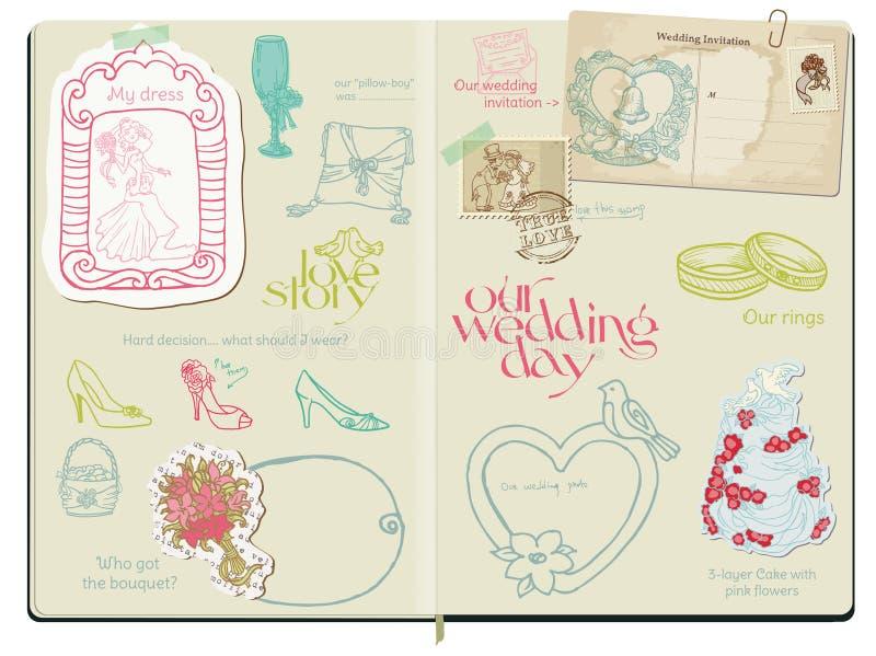 Elementos del diseño del libro de recuerdos del vector - boda ilustración del vector