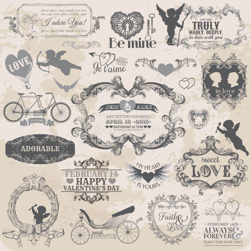 Sistema del amor de la tarjeta del día de San Valentín del vintage ilustración del vector
