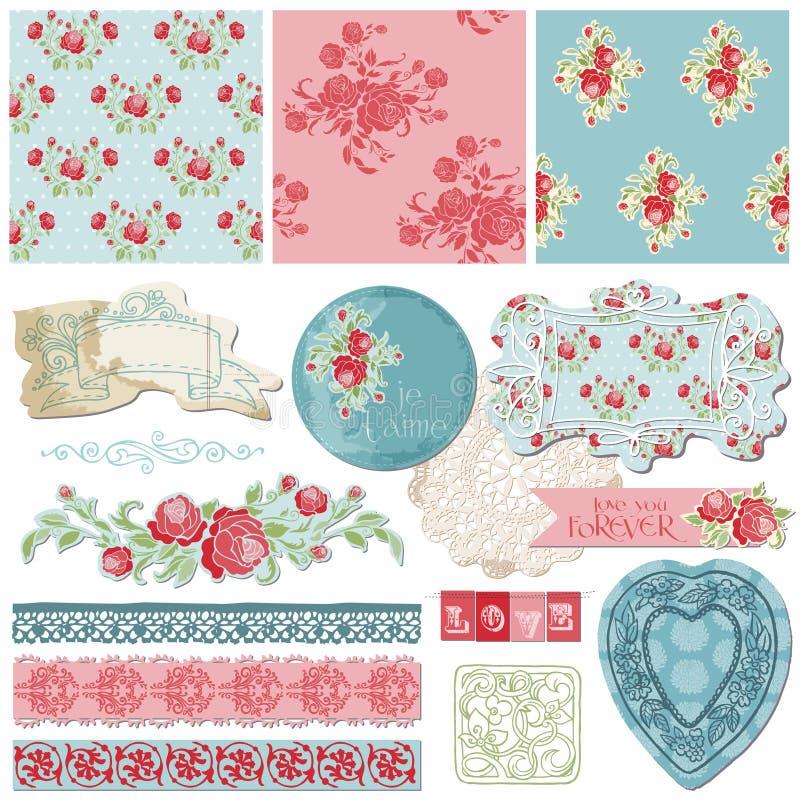 Elementos del diseño del libro de recuerdos - flores de la vendimia stock de ilustración