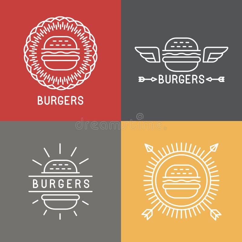 Elementos del diseño del logotipo de la hamburguesa del vector en estilo linear stock de ilustración