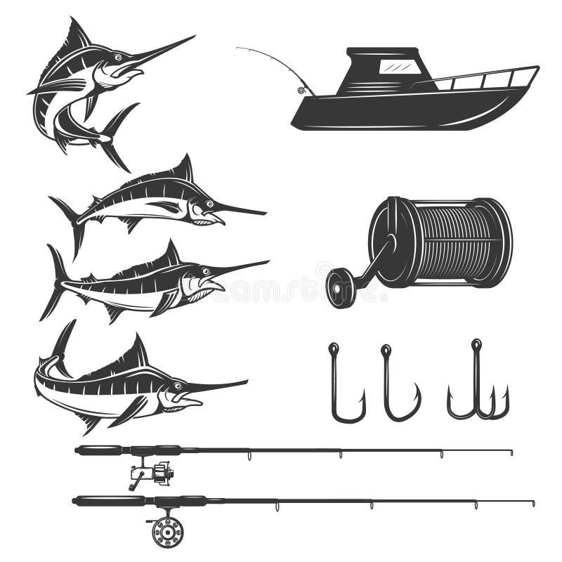 Elementos del diseño del mar profundo aislados en el fondo blanco Fis de la espada libre illustration