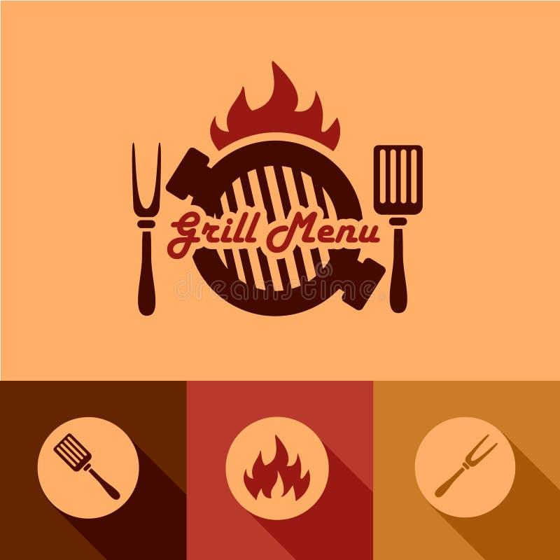 Elementos del diseño del menú de la parrilla stock de ilustración