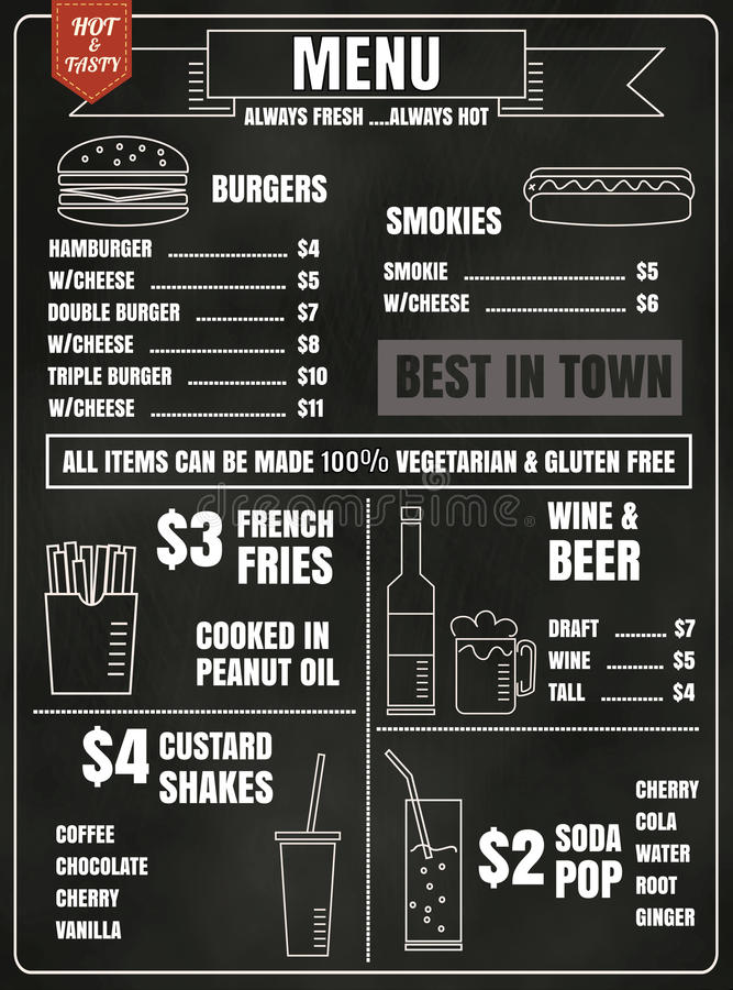Elementos del diseño del menú del restaurante con la comida y la bebida dibujadas tiza libre illustration