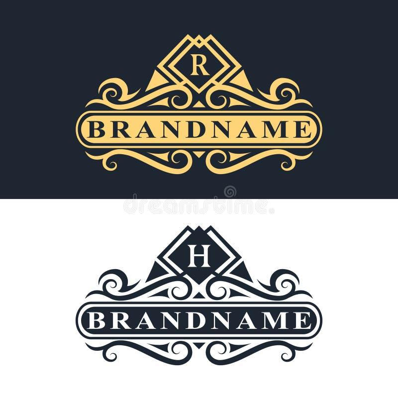Elementos del diseño del monograma, plantilla agraciada Línea elegante caligráfica diseño del logotipo del arte stock de ilustración