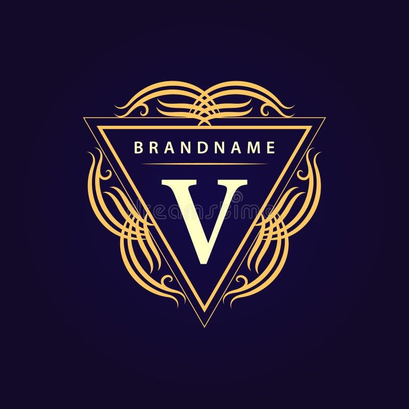 Elementos del diseño del monograma, plantilla agraciada Línea elegante caligráfica diseño del logotipo del arte Carta V Muestra d stock de ilustración