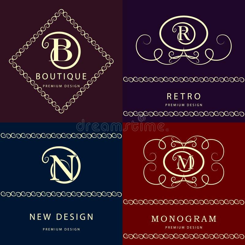 Elementos del diseño del monograma, plantilla agraciada Línea elegante diseño del logotipo del arte Letra M, N, R, B emblema Ilus stock de ilustración