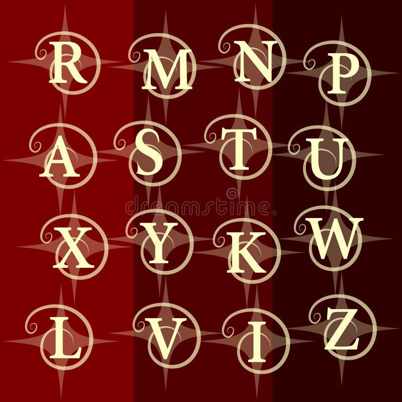 Elementos del diseño del monograma, plantilla agraciada Línea elegante diseño del logotipo del arte Letra R, M, N, P, A, S, T, U, stock de ilustración