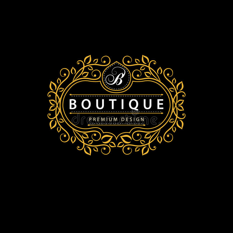 Elementos del diseño del monograma, plantilla agraciada Línea elegante diseño del logotipo del arte Muestra del negocio, identida stock de ilustración