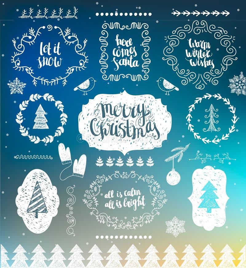 Elementos del diseño del vector de las decoraciones de la Navidad ilustración del vector