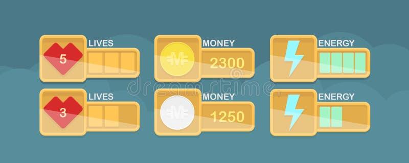 Elementos del diseño del vector para el interfaz casual del juego ilustración del vector