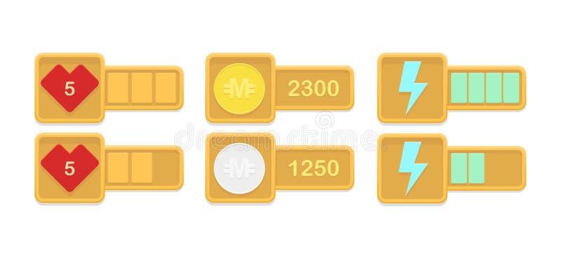Elementos del diseño del vector para los juegos casuales libre illustration