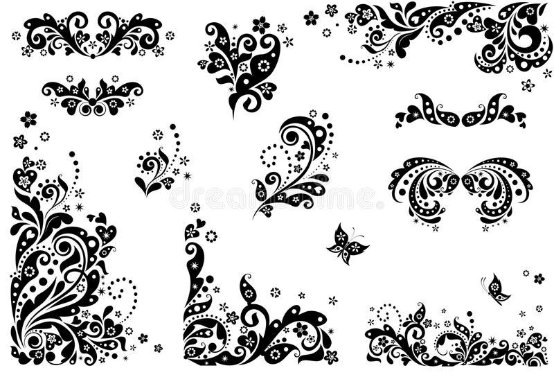 Elementos del diseño del vintage (blancos y negros) ilustración del vector