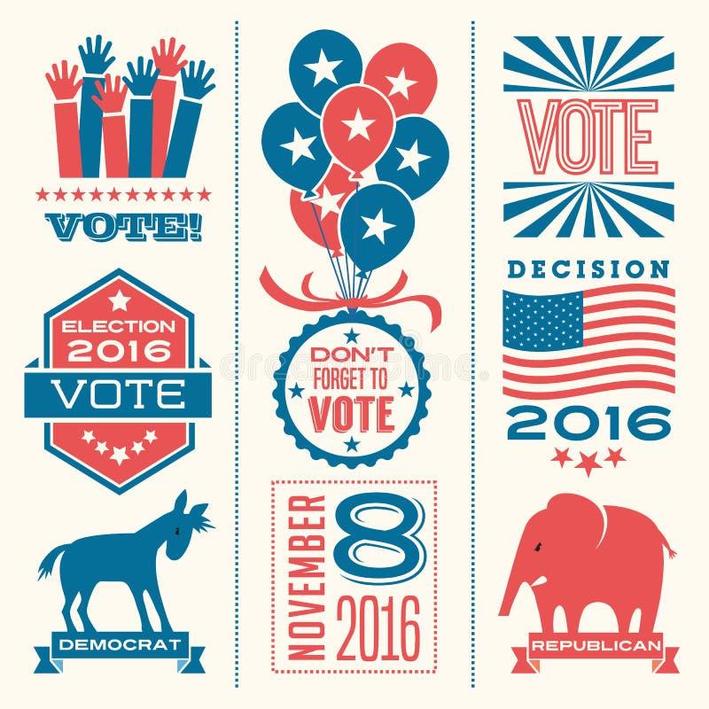 Elementos del diseño del voto para la elección 2016 stock de ilustración