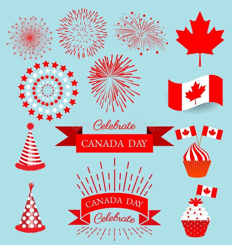 Elementos del diseño determinado para el día nacional de Canadá libre illustration