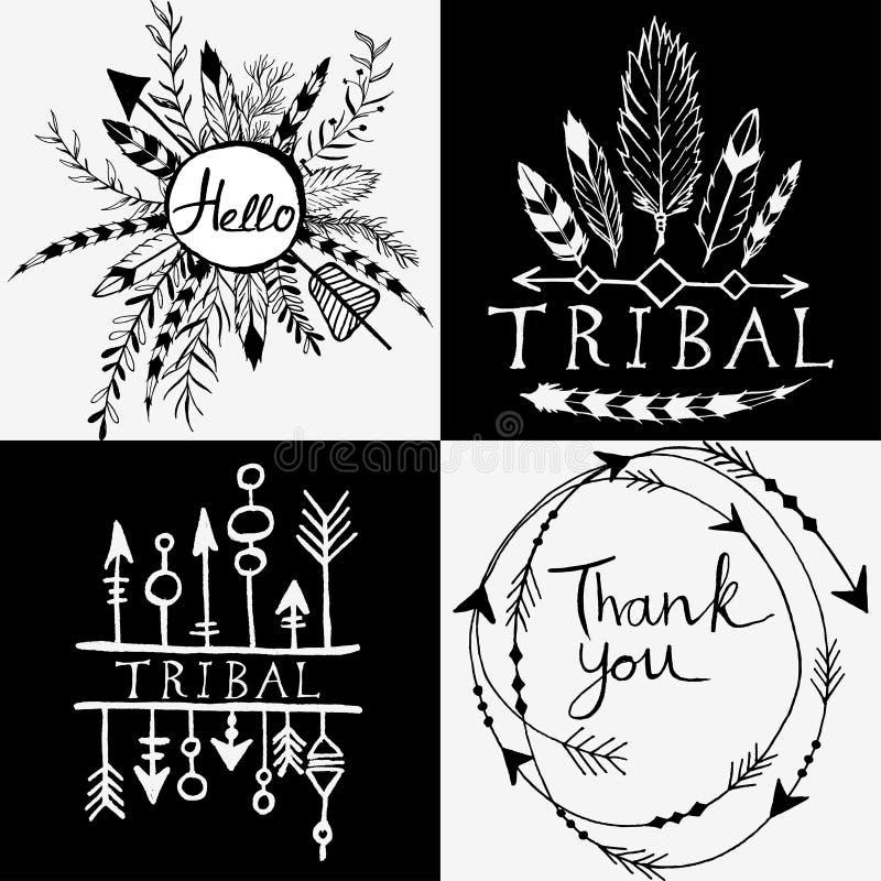 Elementos del diseño en estilo tribal ilustración del vector