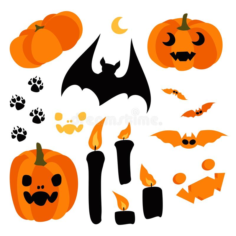 Elementos del diseño del feliz Halloween Víspera de Todos los Santos stock de ilustración
