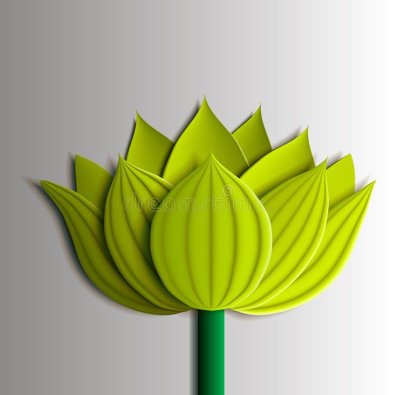 Elementos del diseño - flor de loto amarilla 3D stock de ilustración